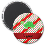 Personalized name turtle christmas polka dots refrigerator magnet