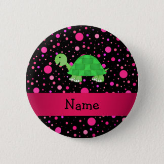Personalized name turtle pink polka dots 6 cm round badge