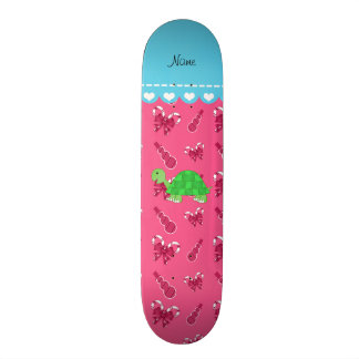 Personalized name turtle pink snowman candy canes skateboard