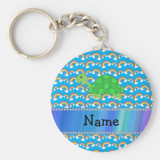 Personalized name turtle rainbows key ring