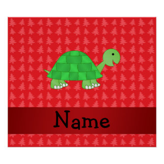Personalized name turtle red christmas trees posters