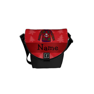 Personalized name ugly christmas sweater commuter bag