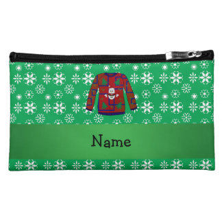 Personalized name ugly christmas sweater snowflake cosmetics bags