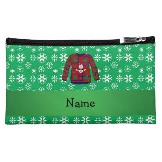 Personalized name ugly christmas sweater snowflake cosmetic bag