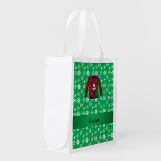 Personalized name ugly christmas sweater snowflake reusable grocery bags