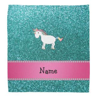 Personalized name unicorn blue glitter bandana