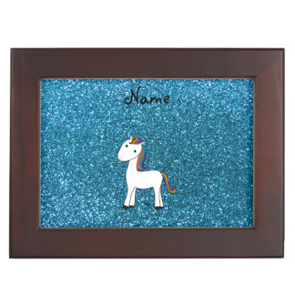 Personalized name unicorn blue glitter keepsake box