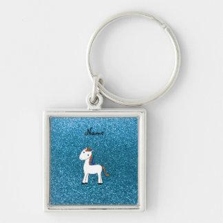 Personalized name unicorn blue glitter key ring