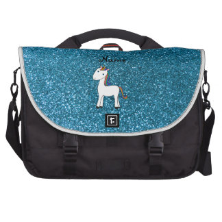 Personalized name unicorn blue glitter bag for laptop