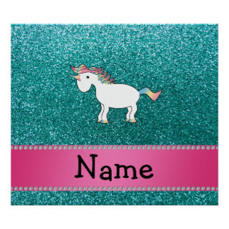 Personalized name unicorn blue glitter print