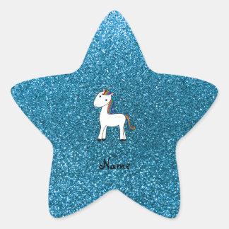 Personalized name unicorn blue glitter star sticker