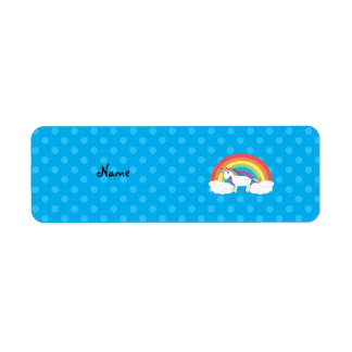 Personalized name unicorn blue polka dots