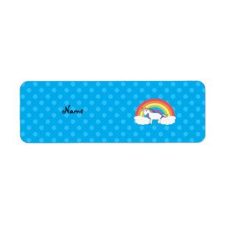 Personalized name unicorn blue polka dots return address label