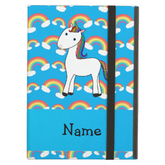 Personalized name unicorn blue rainbows iPad air cover