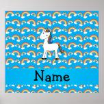 Personalized name unicorn blue rainbows poster