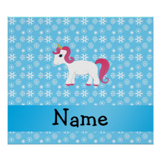 Personalized name unicorn blue snowflakes poster