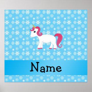 Personalized name unicorn blue snowflakes poster