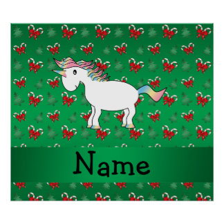 Personalized name unicorn green candy canes bows poster