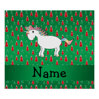 Personalized name unicorn green snowman posters