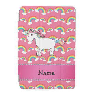 Personalized name unicorn pastel pink rainbows iPad mini cover