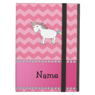 Personalized name unicorn pink chevrons iPad air case