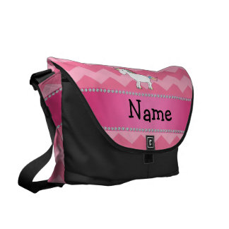 Personalized name unicorn pink chevrons commuter bags
