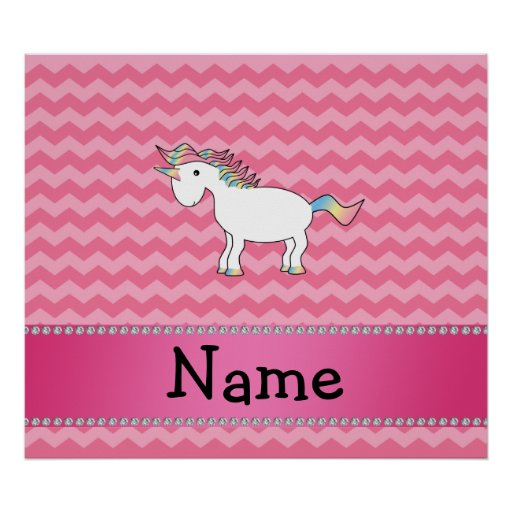 Personalized name unicorn pink chevrons poster