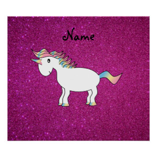 Personalized name unicorn pink glitter posters