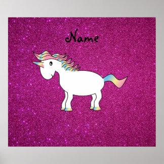 Personalized name unicorn pink glitter posters
