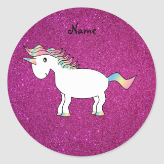 Personalized name unicorn pink glitter round sticker