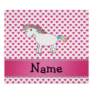 Personalized name unicorn pink hearts print