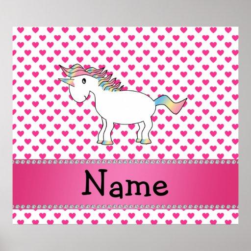 Personalized name unicorn pink hearts print