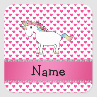 Personalized name unicorn pink hearts square sticker