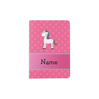 Personalized name unicorn pink polka dots passport holder