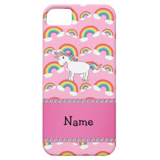 Personalized name unicorn pink rainbows barely there iPhone 5 case