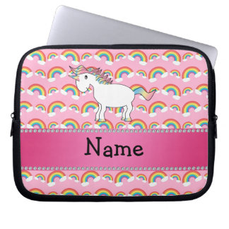 Personalized name unicorn pink rainbows laptop sleeve