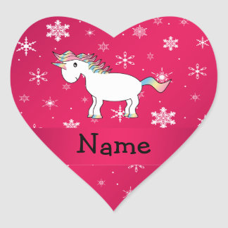 Personalized name unicorn pink snowflakes heart sticker