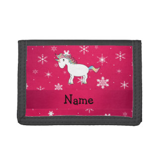 Personalized name unicorn pink snowflakes trifold wallet