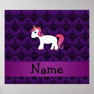 Personalized name unicorn purple damask posters
