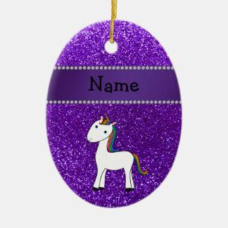 Personalized name unicorn purple glitter christmas ornament
