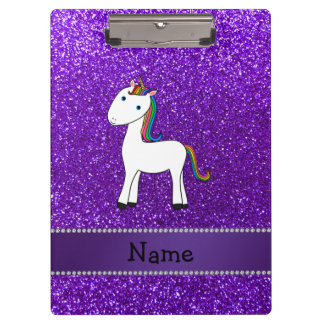 Personalized name unicorn purple glitter clipboard
