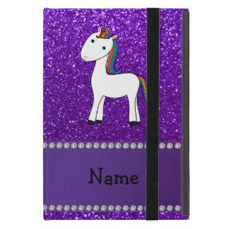 Personalized name unicorn purple glitter covers for iPad mini