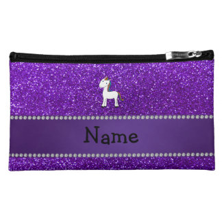 Personalized name unicorn purple glitter makeup bags