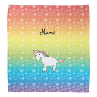 Personalized name unicorn rainbow hearts bandana