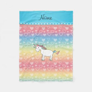 Personalized name unicorn rainbow hearts fleece blanket