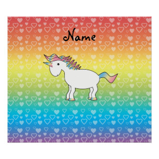 Personalized name unicorn rainbow hearts posters