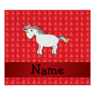 Personalized name unicorn red christmas trees posters