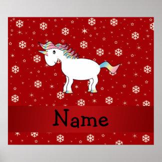 Personalized name unicorn red snowflakes print