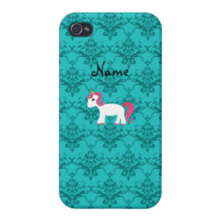 Personalized name unicorn turquoise damask iPhone 4/4S cases