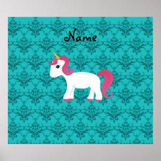 Personalized name unicorn turquoise damask poster